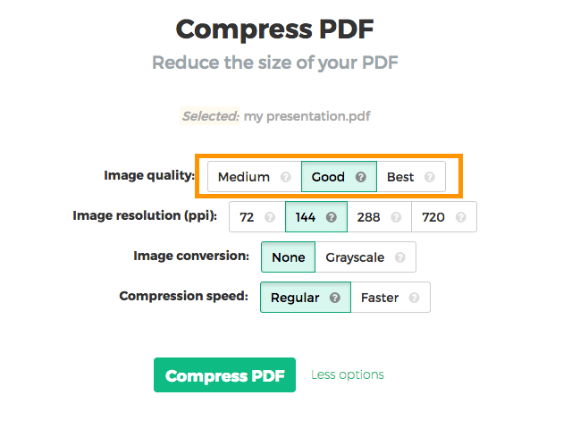 Compress pdf online under image quality select good 85 or best 100 ccuart Images